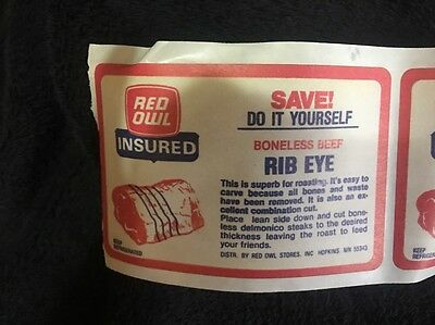 Red Owl Meat Insured Rib Eye Stickers 5!