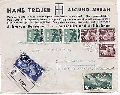 Italy 1948 registered express cover Meran to Austria