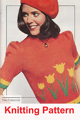 Vintage Knitting Pattern For Womens Striped Sweater Long Sleeve