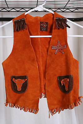 Childs kids childrens SUEDE LEATHER VEST sheriff costume cowboy texas 28 chest