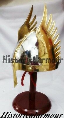 Medieval Knight Viking Helmet Armor Winged Norman Helm QWKH war wearable costume