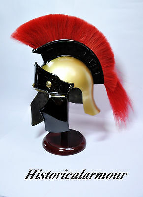 Greco Roman Armor Helmet w/ Red Plume ~ Medieval Knight Crusader Spartan ""