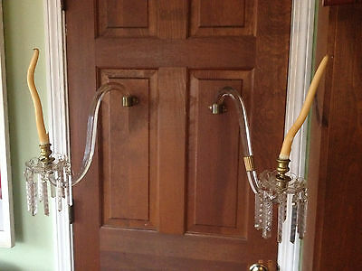 Pair Of Victorian Crystal Single Arm Wall Sconces - Crystal Drops
