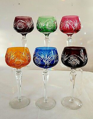 Bohemian Crystal 6 Harlequin Cut to Clear Heavy Hock Glasses With Zip Cut Stems