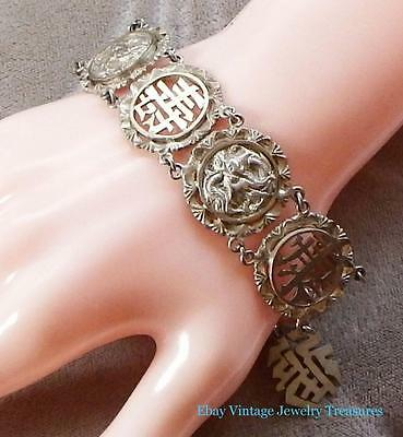 Vintage Antique Chinese Export Silver Bracelet Dragon Design
