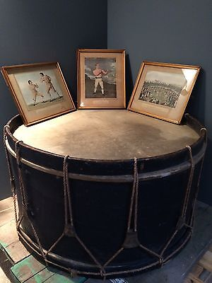 "Huge Large 30"" Antique War Military Marching Bass Field Drum Rope Wooden French"