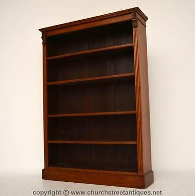 Antique Mid-Victorian Oak Open Bookcase - High Quality
