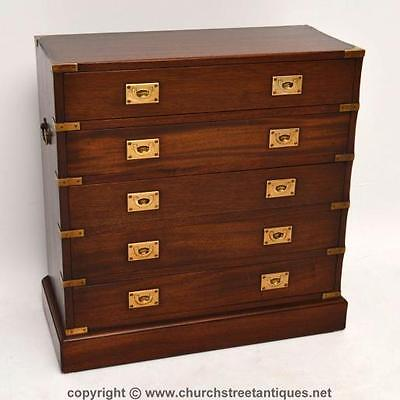 Antique Campaign Style Mahogany & Brass Chest Of Drawers