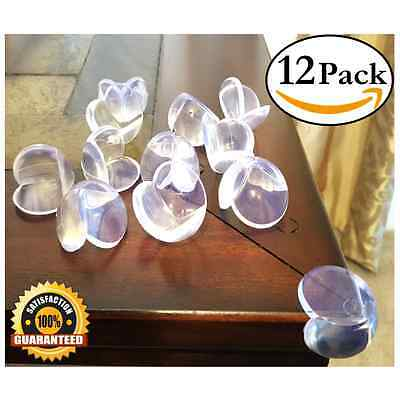 EliteBaby Clear Table Corner Guards, 12 Pack, Safety Bumper Edge Protectors