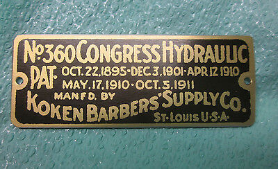 Antique Koken Congress Barber Chair Name Plate ID Tag Reproduction No 360