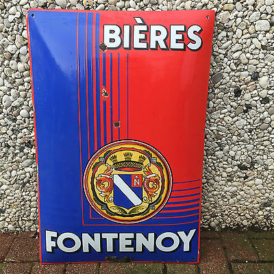 ++++  Ancienne  Plaque Emaillee  Biere  Fontenoy  Pyro Email  Boos & Hahn  ++++
