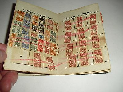 Vintage 1954 Romanian Document with 100 Fiscal Stamps