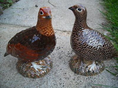 Exquisitel Pair Of Red Grouse Figurine sBy Quail Pottery  Ideal Gift Boxed.