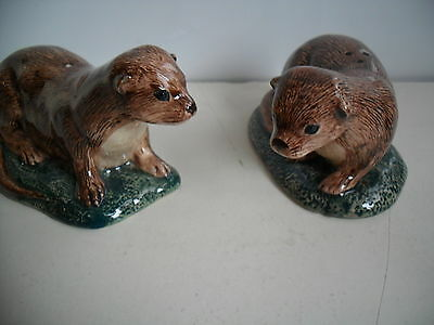 Unusual Otters Salt And Pepper Pots By Quail Pottery Boxed