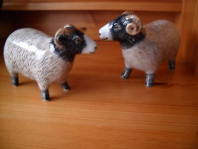 Unusual  Swaledale Ram And Ewe Sheep Salt And Pepper Pot By Quail Pottery  Boxed