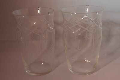 Victorian Etched Crystal Glass Tumblers (2)