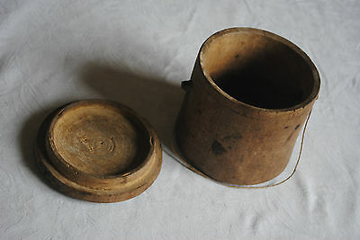 Antique Round Wooden Container/Storage with Lid and String Handle - Rustic