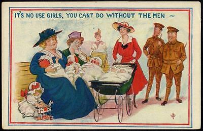 "Woman's Suffrage Comic PPC c1914 - ""..Girls, You Can't Do Without the Men"""