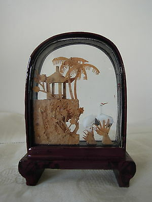 Chinese Hand Carved Cork Sculpture in Lacquer Frame Arch Shape