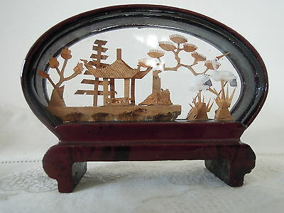 Chinese Hand Carved Cork Sculpture in Lacquer Frame Half Oval Shape