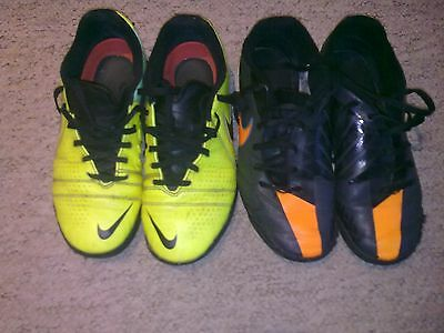 2 X Nike T90 Black And Orange & Yellow trainers Both Size 4