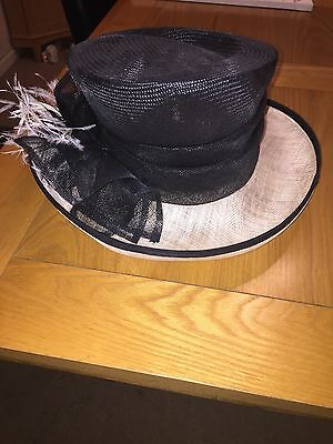Jacques Vert Wedding Occasion Hat Black And Cream-REDUCED