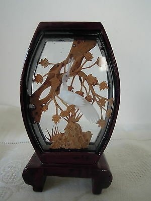 Chinese Hand Carved Cork Sculpture in Lacquer Frame Flat Top Shape