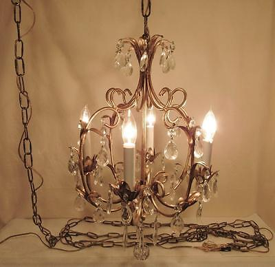 Vintage Ornate Hanging Crystal Prism Chandelier Light Ceiling Fixture Lamp