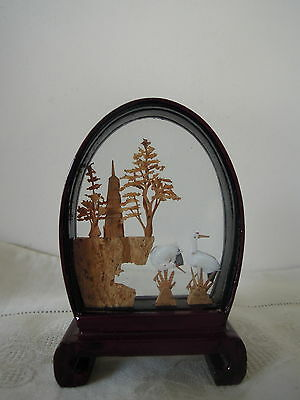 Chinese Hand Carved Cork Sculpture in Lacquer Frame Looped Shape