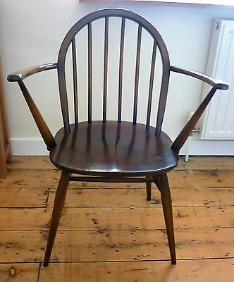 1950 Ercol Windsor Carver Dining Chair Dark Wood