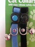 Cat Collars x 2 - BLACK & LIGHT BLUE with easy release safety clip & Loud Bell