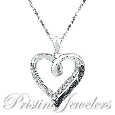 Solid 925 Sterling Silver Heart Necklace White Black Pendant Chain Women Jewelry