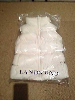 Lands End Ivory Girls Quilted Gilet / Body Warmer - Years / Small - Brand New