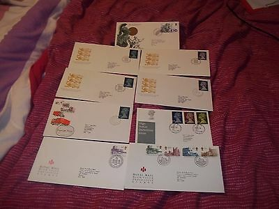 9 High Value Gb First Day Covers.
