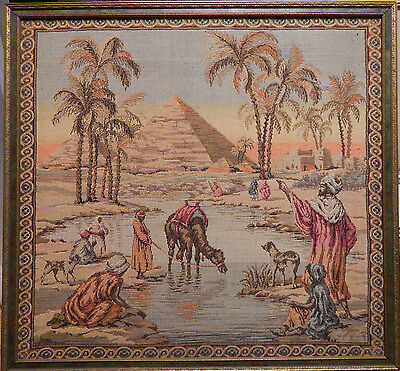 Vintage Orientalist French Egypt Oasis Pyramid Scene Tapestry - Framed