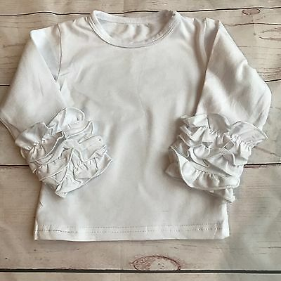 Girls White Icing Ruffle Long Sleeve Top 3M-3T