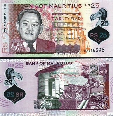 MAURITIUS - 25  rupees 2013 Polymer FDS - UNC