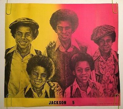 Vintage Black Light Poster Jackson 5 Caricature Pin-Up Michael Jackson 1970's