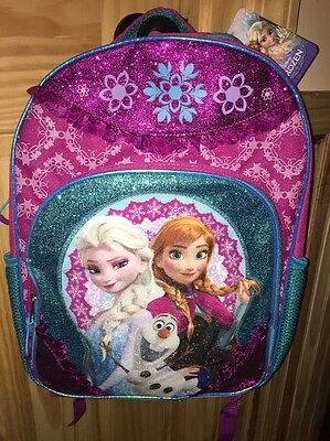 """Disney Frozen 16"""" Backpack Featuring Elsa And Anna NWT"""