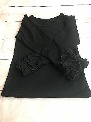 Girls Black Icing Ruffle Long Sleeve Top 3M-3T