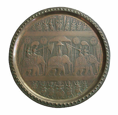 Vintage South Asian Brass Plate - Hand Hammered - #3 - India - Mid 20th Century