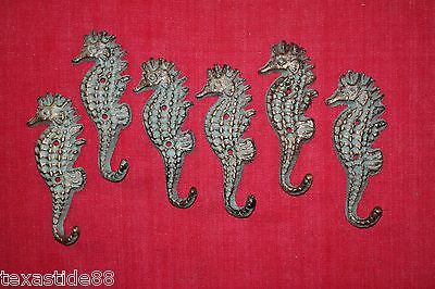 (6) Bronze Look, Seahorse, Wall Hooks, Sweater Hook, Christmas Gift, Girls N-25