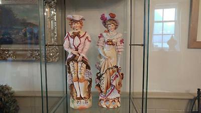 Pair of Impressive German Antique Large Figurines of Courting Couple C 1890+