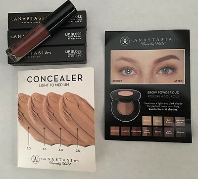 Anastasia Beverly Hills 5 Samples- Lip Gloss/Concealer/Brow Powder Duo