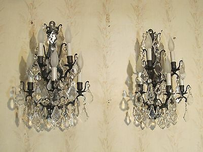 "2 Victorian Solid Bronze French Antique Sconces Collectible Sconces Exc ""rare"""