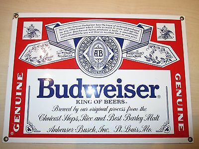 """1990s HEAVY ENAMEL LARGE """"BUDWEISER""""  SIGN by Ande Rooney    Beer  Lager"""