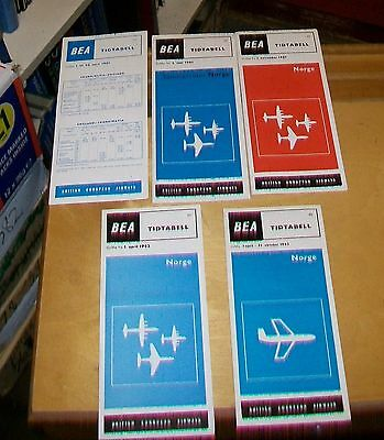Bea Norge Norway  Timetables 1961-1965 (4) Comet Dc7C  Caravelle Viscount
