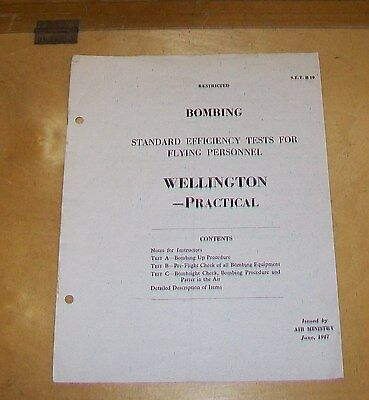 Bombing Standard Efficiency Tests For Flying Personnel Vickers Wellington 1947