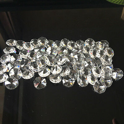 100Pcs 14MM 2Hole Clear Octagon Crystal Glass Bead Chandelier Chain Lamp Prism