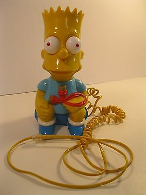 Bart Simpson 1990 Telephone Push Button Corded Columbia In Vg Used Condition